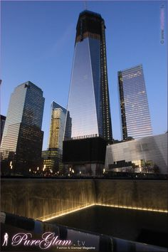 Beautiful 9/11 memorial - New York City with new World Trade Center - amazing large reflection pools by night, NYC, Manhattan, WTC, remember