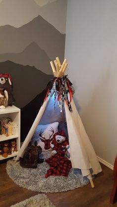 Good photo booth idea with props. - DIY teepee for a mountain explorer, wilderness explorer nursery. Baby Boy Rooms, Baby Boy Nurseries, Toddler Rooms, Kids Rooms, Woodland Nursery, Moose Nursery, Cabin Nursery, Teepee Nursery, Hunting Nursery