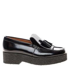 CELINE Black Leather Crepe Kiltle Platform Tassel Loafers Shoes 40 NEW $1050…