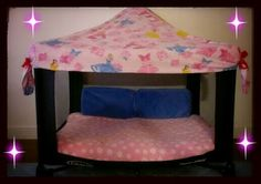 I saw this idea on facebook .pack n play changed to nap time bed /play tent (*´∀`)