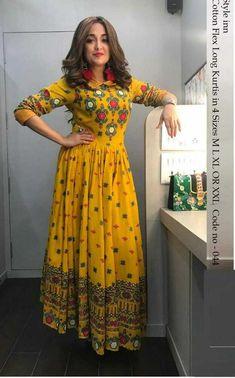Bollywood Designer Long Anarkali Kurtis from The value store Indian Gowns Dresses, Pakistani Dresses, Indian Designer Outfits, Indian Outfits, Indian Fashion Trends, Kurta Designs Women, Blouse Designs, Stylish Dresses, Casual Dresses