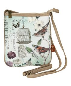 White & Green Birdcage Crossbody Bag