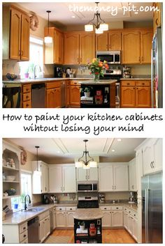 (I will need to do this someday for our new basement kitchen - got FREE oak cabinets to update) The Money Pit: How To Paint Your Kitchen Cabinets Without Losing Your Mind