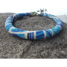 Crochet Beaded Necklace with Geometric Pattern Beaded Necklace Bead... ❤ liked on Polyvore featuring jewelry, necklaces, macrame necklace, macrame jewelry, bead crochet jewelry, crochet bead necklace and beading jewelry