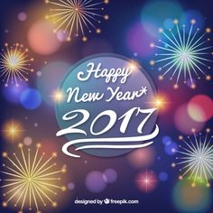 Happy new year background with fireworks Vector | Free Download