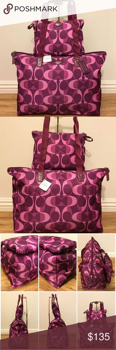 """🐙Coach Nylon Berry Bag & Snap Pouch🐙 ⬇️Drop Price $135 to $120⬇️👉🏻Poshmark Take us 20%👈🏻 Firm  🐙Coach Nylon Weekender Packable🐙  🐙""""NO"""" Trade, Modeling, Dust Bag, HOLD❌  🐙Please Read Carefully the Item Description Before Purchase   🏼Perfect for Vacation🚘School📕Baby Diaper Bag💻Work,Gym🏋️Beach👙or Travel✈️   🐙Band New w Tag  🐙100% Authentic (No Serial No. SEARCH)  🐙Model No. F77452  🐙Punch Back Snap  🐙Exterior Logo Plate & Hang Charm  🐙Color: Berry/ Multi  🐙Handles 10""""…"""