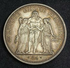 France 10 Francs Silver Coin, minted in 1966. Obverse: Hercules facing, flanked by Liberty and Equality. Legend: LIBERTE EGALITE FRATERNITE  Exergue: . Dupre .  Reverse: Denomination (10 FRANCS) and date (1966) within wreath. Legend: REPUBLIQUE FRANCAISE * (privy marks: cornucopia / pointing hand) Mint Place: Paris