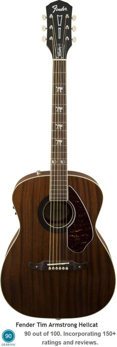 Fender Tim Armstrong Hellcat. This acoustic-electric guitar is based on Tim Armstrong's beat-up old '60s Fender acoustic - on which he writes all of the songs for his legendary punk band, Rancid. For a detailed guide to acoustic guitars see https://www.gearank.com/guides/acoustic-guitars