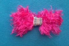 Furry Pink Bow Tabi's Creative Creatures Tabi's Elegant Hair Pieces by TabiCreativeCreature on Etsy