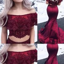 Elegant Two Pieces Burgundy Mermaid Long Prom Dresses, Off The Shoulder Mermaid Party Dress,Beads Satin Evening Dress ,Prom Dresses Lavender Prom Dresses, Lace Evening Dresses, Elegant Dresses, Bridal Dresses, Wedding Gowns, Girls Dresses, Flower Girl Dresses, Bridesmaid Dresses, Formal Dresses