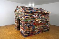 A House Made Entirely of Vintage Books entitled 'The House of Books has no Windows'. Installation by Janet Cardiff and George Bures Old Books, Antique Books, Vintage Books, Cubby Houses, Play Houses, Tree Houses, Potpourri, Janet Cardiff, House Made