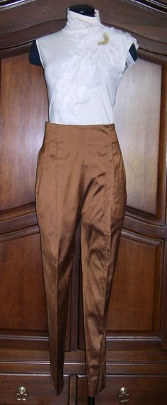 Vintage Romeo Gigli high waisted copper silk pants size 8 #RomeoGigli #DressPants