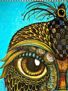 ink drawing owl art zentangle