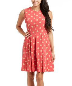 Loving this Coral & Beige Polka Dot Sleeveless Dress on #zulily! #zulilyfinds