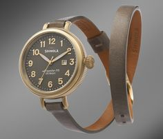 This double-strap timepiece from Shinola, $525, comes in a subtle grey that matches the face.