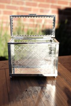 Chrome Silver and Glass Wedding Wishing Well Box. A unique way of collecting well wishes from your friends and family.   Available for Hire in Melbourne @thesmallthingsco