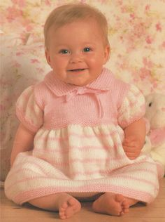 Baby Girl Dress PDF Knitting Pattern : Babies 16, 18, 20 and 22 inch chest . 41, 46, 51 and 56 cm . Instant Digital Download by PDFKnittingCrochet on Etsy
