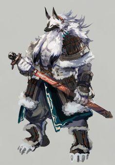 "Vuran Kain - Master of the Jin Clan ""Father of the fallen"" Fantasy Character Design, Character Design Inspiration, Character Art, Fantasy Beasts, Fantasy Rpg, Creature Concept Art, Creature Design, Wolf Warriors, Werewolf Art"