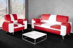 Retro 50er Diner 3-Sitzer Sofa oder Sessel ROCK'N'ROLL weiss rot Kunstleder jetzt bei Riess Ambiente
