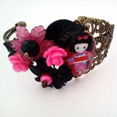 Pink Kokeshi Girl Cameo Collage Bracelet Antique by glamasaurus, $35.00