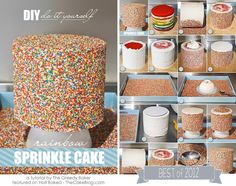 How to make a sprinkle cake! Learn how to cover the sides of a cake in sprinkles with a step by step tutorial. Rainbow Sprinkle Cakes, Rainbow Sprinkles, Rainbow Cakes, Cake With Sprinkles, Gateaux Cake, Rainbow Food, Cake Blog, Cake Cover, Rainbow Birthday