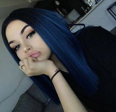dark blue hair Preferred Hair Blue Hair Wig of Human Hair with Baby Hair Brazilian Ombre Lace Front Wig Short Bob Wigs for Women Royal Blue Hair, Dark Blue Hair, Hair Color Blue, Deep Blue, Black To Blue Ombre, Blue Green, Blue Lace, Dark Ombre, Light Blue Ombre Hair