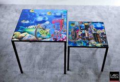 Impression sur Plexiglas pour une table basse.  Artiste : Simone Monney.
