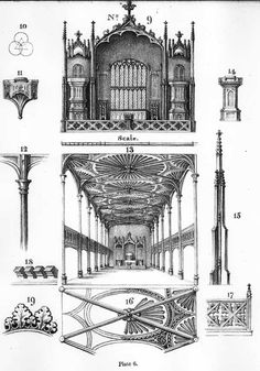 France Sketches From Choir Stalls Amiens 1891 Antique Print- Architecture