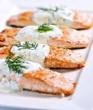 Grilled Salmon with Dill Sauce:  8 servings; 218 calories, 26 g protein, 79 mg cholesterol,:11 g fat, 2 g carbs per (3–4 oz salmon with 2 Tbsp sauce) serving