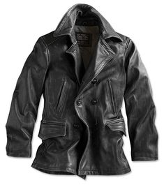 Nothing compares with the rugged refinement of our double-breasted black  leather jacket for men. 158ad1020a44