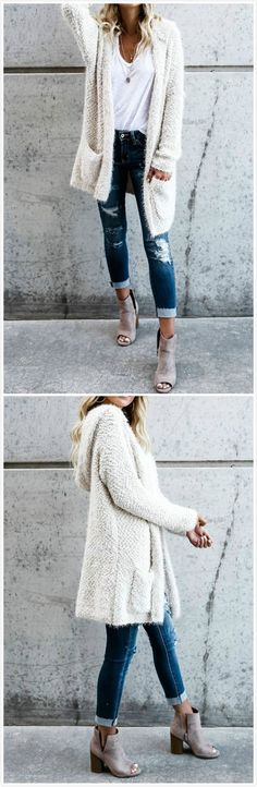 love this whole outfit but am not a fan of the ripped/torn jean look though. love this whole outfit but am not a fan of the ripped/torn jean look though. Mode Outfits, Casual Outfits, Fashion Outfits, Womens Fashion, Fashion Trends, Fashion 2017, Fall Winter Outfits, Autumn Winter Fashion, Dress Winter