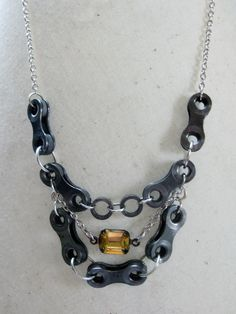 Upcycled Bike Chain Crystal Statement Necklace. I'm going to attempt to make this