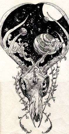 primal, natural, nature, skull, tattoo, drawing, space,