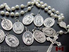 Catholic Jewelry. Wholesale Lot of 5 Patron Saints Charms Medals. St Christopher.  For Bracelet. Vintage. (SeaBeachGlass--Etsy) (MSRP $25)
