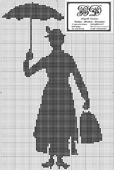 free cross stitch chart, Mary Poppins silhouette