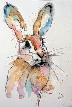 Pen and watercolor wash rabbit Pen And Watercolor, Watercolor Animals, Watercolor Paintings, Watercolors, Watercolor Pictures, Watercolor Ideas, Lapin Art, Rabbit Art, Rabbit Drawing