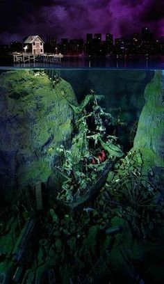Diorama by Lori Nix, shipwreck -> wow this is just uber hardcore Under The Water, Under The Sea, Abandoned Places, Abandoned Ships, Snorkeling, Cool Photos, Art Photography, Underwater Photography, Places To Go