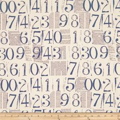 Moda Figures Numbers Linen from @fabricdotcom  Designed by Zen Chic for Moda, this cotton print is perfect for quilting, apparel and home decor accents.  Colors include navy and very pale grey.