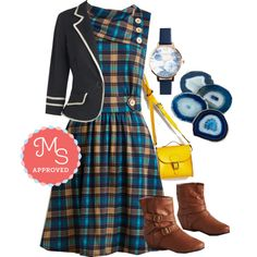 In this outfit: Coach Tour Dress in Teal Plaid, Academia Ahoy Blazer, Trick of the Clock Watch, Have a Gneiss Day Coaster Set, Styled for Miles Bag, Bring the Flair Boot #plaid #fall #fashion #casual #workwear #outfits #ModCloth #ModStylist