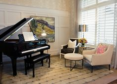 Placing a piano in living room adds a nice touch to your decor. We put together some of the best piano room ideas and what piano designs are available for you. Piano Living Rooms, Formal Living Rooms, My Living Room, Dining Room, Small Living, Modern Living, Grand Piano Room, Piano Room Decor, Piano Studio Room