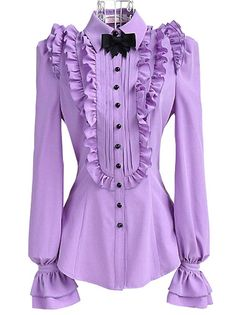 Fashion Flouncing Long Sleeve Pure Color Bowknot Blouse Purple on buytrends.com