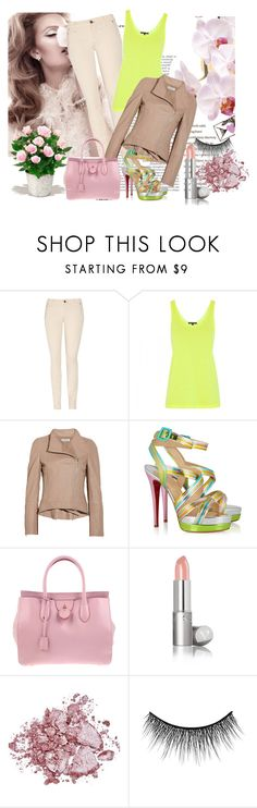 """Pish Posh"" by keira18 ❤ liked on Polyvore featuring TEXTILE Elizabeth and James, Christopher Kane, KaufmanFranco, Christian Louboutin, Rochas, Stila, eylure, PLANT, skinny jeans and neon"