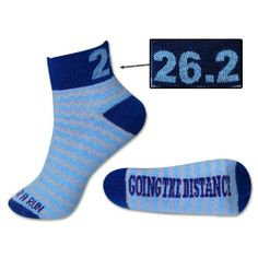 $8.99 awesome Running Socks 26.2 Going The Distance - Blue/Gray