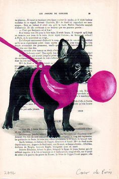 Original Illustration Digital Print Mixed Media Art Poster Acrylic Painting Holiday Decor Drawing Gift: French bulldog with bubblegum. $10.00, via Etsy.