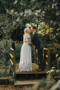 ccc73884164 Laid Back Woodland Wedding with an Embroidered Floral Dress Green Wedding  Dresses