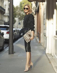 Olivia Palermo snake print bag