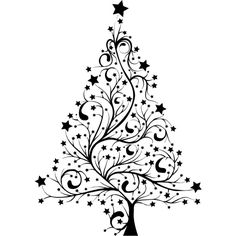 Starry Christmas Tree Silhouette ❤ liked on Polyvore featuring xmas