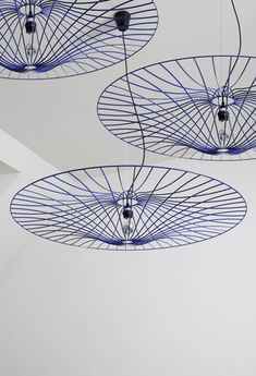 Steel pendant #lamp LES OMBRELLES by La Corbeille Editions | #design Jocelyn Deris #blue