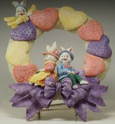 Anthropomorphic Bunny Rabbits Hearts Bow Easter Wreath 1990'S | eBay
