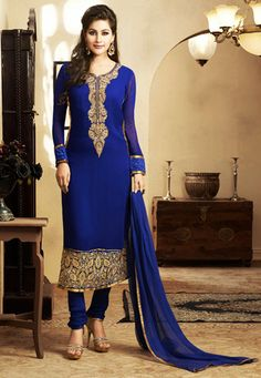 Dark Blue Faux Georgette Readymade Churidar Kameez